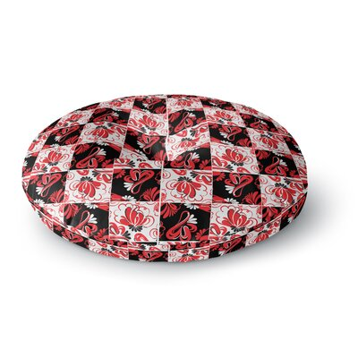 Maria Bazarova Texture Red Flowers Abstract Round Floor Pillow Size: 23 x 23