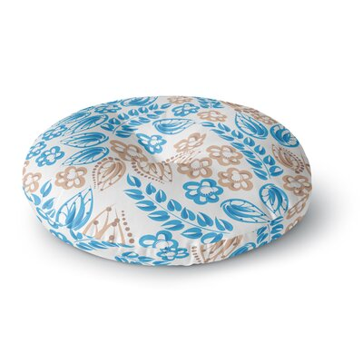 Maria Bazarova Blue White Flowers Abstract Round Floor Pillow Size: 26 x 26