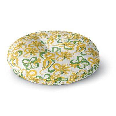 Maria Bazarova Green Yellow Flowers Abstract Digital Round Floor Pillow Size: 26 x 26