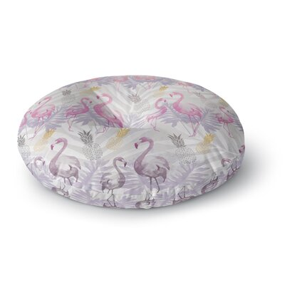 Mmartabc Flamingos and Pineapples Watercolor Round Floor Pillow Size: 23 x 23
