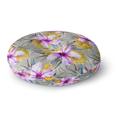 Mmartabc Tropical Flowery Illustration Round Floor Pillow Size: 26 x 26