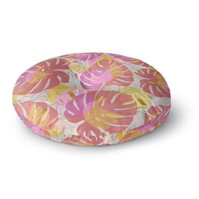 Mmartabc Monstera with Tropical Banana Illustration Round Floor Pillow Size: 23 x 23