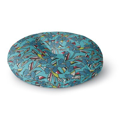 Michelle Drew Paper Leaf Blue Round Floor Pillow Size: 23 x 23