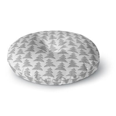 Michelle Drew Herringbone Forest Black Round Floor Pillow Size: 26 x 26