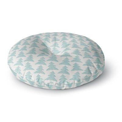 Michelle Drew Herringbone Forest Teal Round Floor Pillow Size: 26 x 26