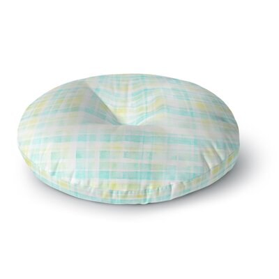 Michelle Drew Watercolor Tartan in Blues Round Floor Pillow Size: 23 x 23