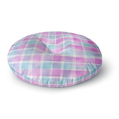 Michelle Drew Watercolor Checked Tartan Sin Plaid Round Floor Pillow Size: 23 x 23