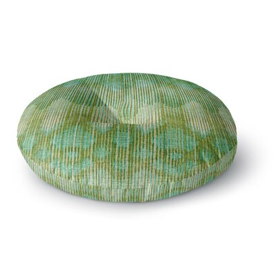 Michelle Drew Vintage Ikat Green Gold Round Floor Pillow Size: 26 x 26