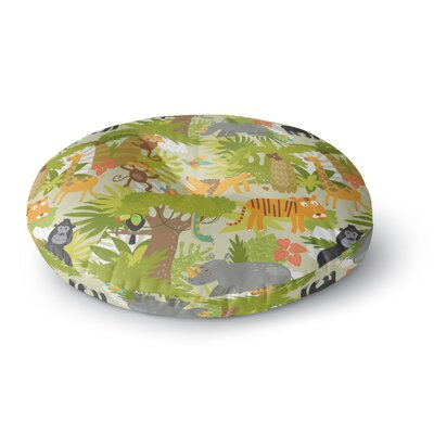 Petit Griffin Roar of the Jungle Animals Round Floor Pillow Size: 26 x 26