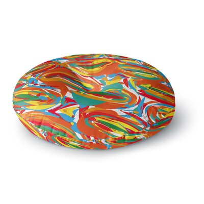 Matthias Hennig Go Left Crazy Round Floor Pillow Size: 26 x 26