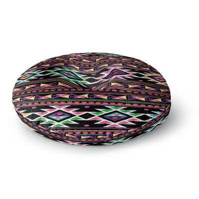 Nika Martinez Black Aylen Round Floor Pillow Size: 26 x 26