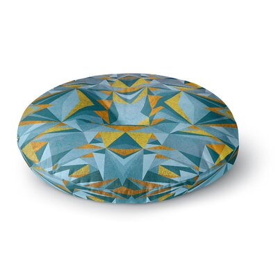Nika Martinez Abstraction Blue & Gold Round Floor Pillow Size: 23 x 23
