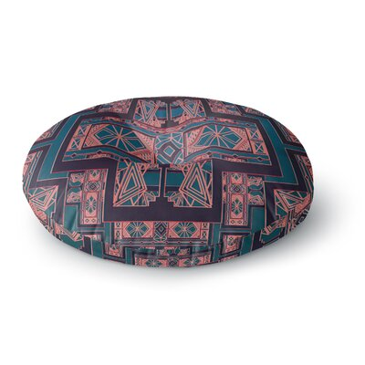 Nika Martinez Golden Art Deco Blue & Coral Round Floor Pillow Size: 26 x 26