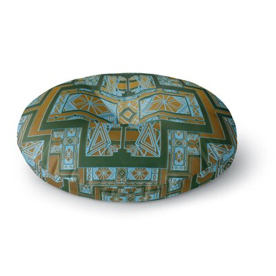 Nika Martinez Golden Art Deco Green & Blue Round Floor Pillow Size: 26 x 26