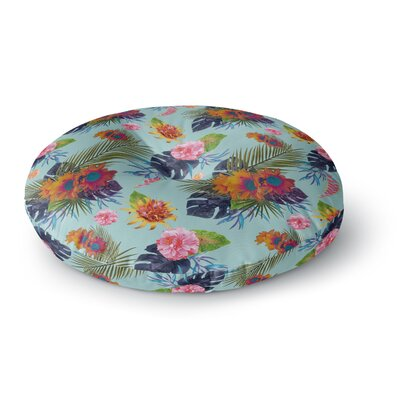 Nika Martinez Tropical Floral Flowers Round Floor Pillow Size: 26 x 26