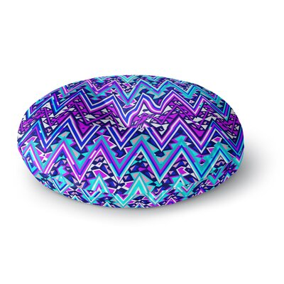 Nika Martinez Blue Electric Chevron Round Floor Pillow Size: 26 x 26