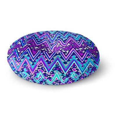 Nika Martinez Blue Electric Chevron Round Floor Pillow Size: 23 x 23