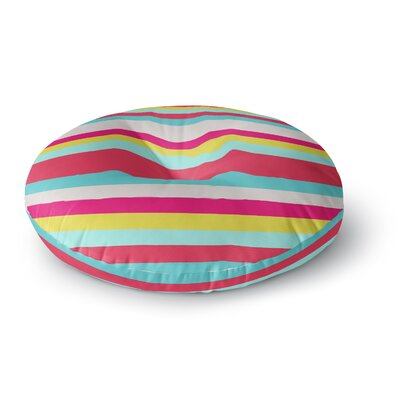 Nika Martinez Girly Surf Stripes Round Floor Pillow Size: 23 x 23