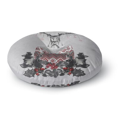 Nika Martinez Christmas Deer Snow Holiday Round Floor Pillow Size: 26 x 26