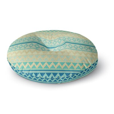 Nika Martinez Glitter Chevron in Teal Round Floor Pillow Size: 26 x 26