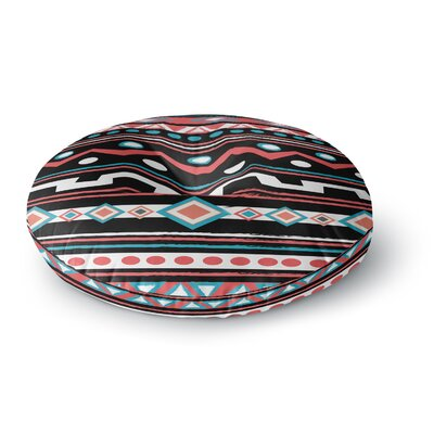 Nika Martinez Black Tipi Tribal Round Floor Pillow Size: 26 x 26