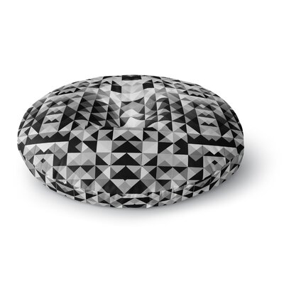 Nika Martinez Geometrie Black & White Round Floor Pillow Size: 26 x 26