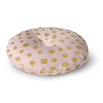 Nika Martinez Golden Dots & Pink Blush Round Floor Pillow Size: 26 x 26