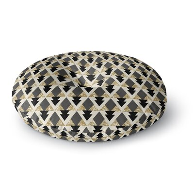 Nika Martinez Glitter Triangles in Gold & Black Geometric Round Floor Pillow Size: 23 x 23