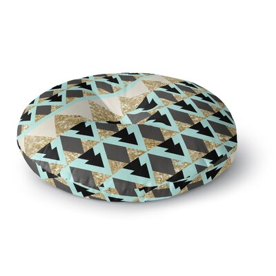 Nika Martinez Glitter Triangles in Gold & Teal Round Floor Pillow Size: 23 x 23