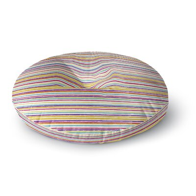 Nika Martinez Summer Stripes Abstract Round Floor Pillow Size: 26 x 26