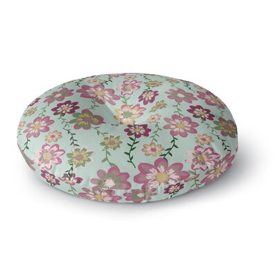 Nika Martinez Romantic Floral in Mint Round Floor Pillow Size: 23 x 23