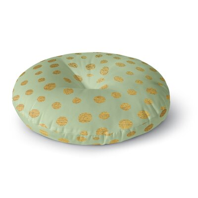 Nika Martinez Golden Dots and Mint Round Floor Pillow Size: 23 x 23