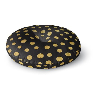 Nika Martinez Golden Dots in Black Round Floor Pillow Size: 23 x 23