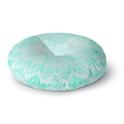 Nika Martinez Boho Flower Mandala in Teal Round Floor Pillow Size: 23 x 23