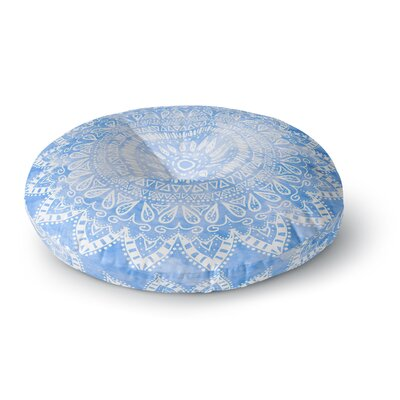Nika Martinez Boho Flower Mandala in Blue Round Floor Pillow Size: 26 x 26