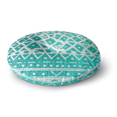 Nika Martinez Aquamarine Tribal Round Floor Pillow Size: 26 x 26