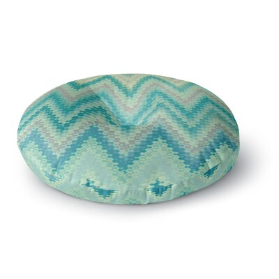 Nika Martinez Seventies Emerald Chevron Abstract Round Floor Pillow Size: 26 x 26
