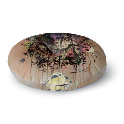 Mat Miller Doom and Bloom Dark Rose Round Floor Pillow Size: 26 x 26