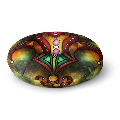 Mandie Manzano Red Fleur De Lis Warm Round Floor Pillow Size: 26 x 26