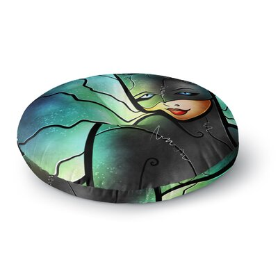 Mandie Manzano Miss Kitty Cat Villain Round Floor Pillow Size: 26 x 26