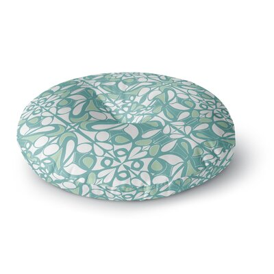 Miranda Mol Swirling Tiles Teal Round Floor Pillow Size: 26 x 26