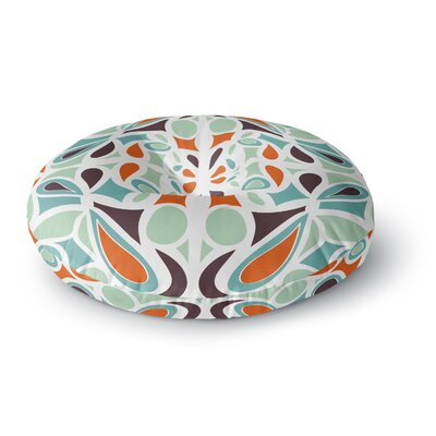 Miranda Mol Orange Purple Stained Glass Round Floor Pillow Size: 26 x 26