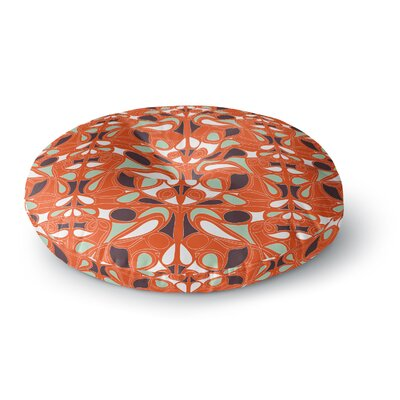 Miranda Mol Orange Swirl Kiss Round Floor Pillow Size: 26 x 26