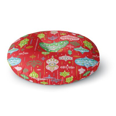 Miranda Mol Ornate Red Ornaments Round Floor Pillow Size: 23 x 23