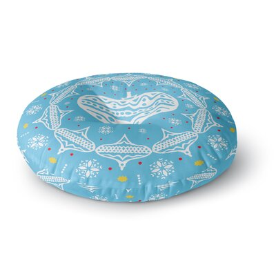 Miranda Mol Deco Wreath Blue Round Floor Pillow Size: 23 x 23
