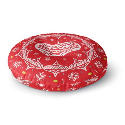 Miranda Mol Deco Wreath Red Scarlet Round Floor Pillow Size: 23 x 23