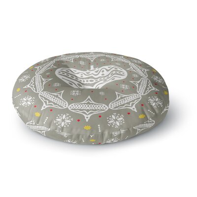 Miranda Mol Deco Wreath Silver Round Floor Pillow Size: 26 x 26