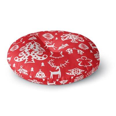 Miranda Mol Warm Winter Red Round Floor Pillow Size: 26 x 26