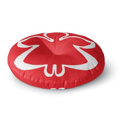 Miranda Mol Flying Angel Red Holiday Round Floor Pillow Size: 23 x 23