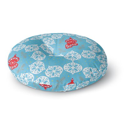 Miranda Mol Frosted White Holiday Round Floor Pillow Size: 26 x 26